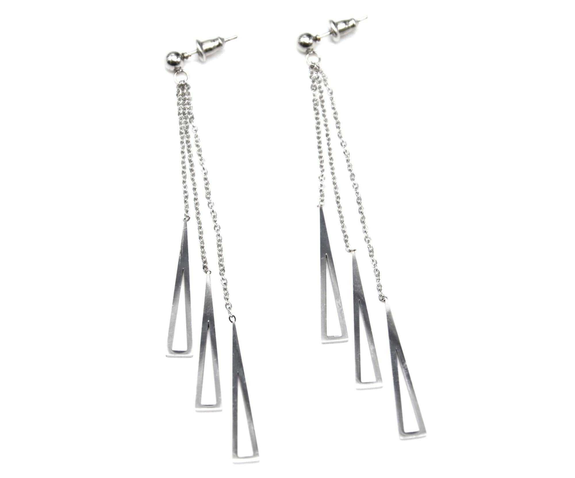 boucles d'oreilles pendantes acier