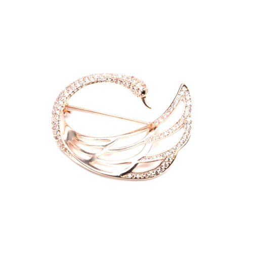 Broche-Epingle-Cygne-Arrondi-avec-Aile-Ajouree-Strass-Zirconium-Or-Rose