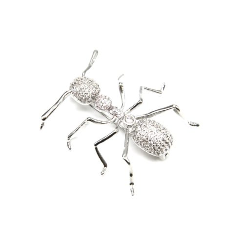Broche-Epingle-Fourmi-avec-Corps-Strass-Zirconium-Argente