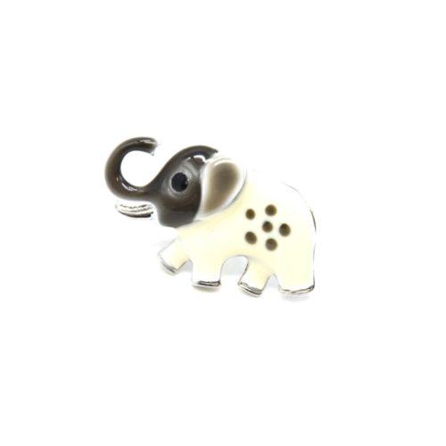 Mini-Broche-Pins-Elephant-Metal-Peint-Gris-Ecru-et-Metal-Argente
