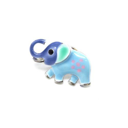 Mini-Broche-Pins-Elephant-Metal-Peint-Bleu-et-Metal-Argente