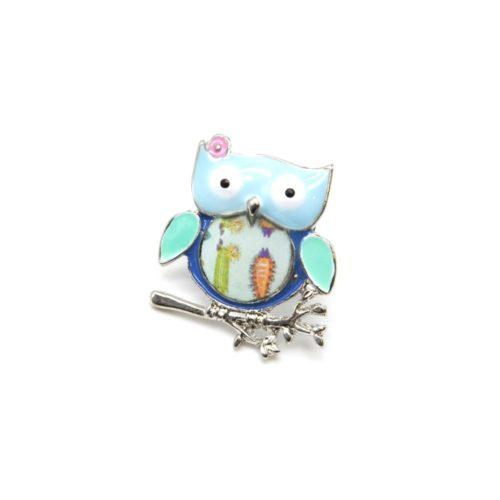 Mini-Broche-Pins-Chouette-Metal-Peint-Bleu-sur-Branche-Metal-Argente