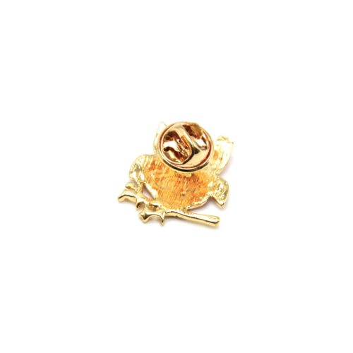 Mini-Broche-Pins-Chouette-Metal-Peint-sur-Branche-Metal-Dore