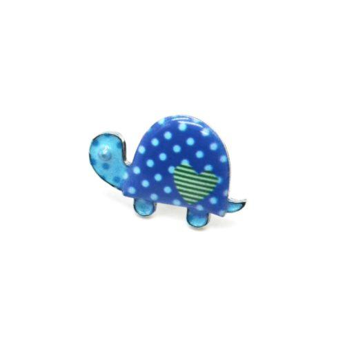 Mini-Broche-Pins-Tortue-Motif-Pois-Bleu-et-Metal-Argente