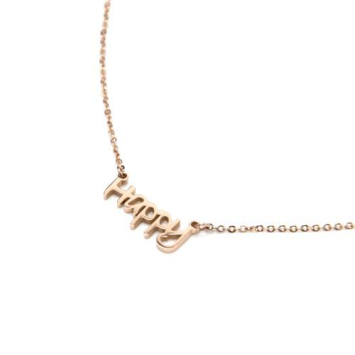 Collier-Fine-Chaine-avec-Pendentif-Happy-Acier-Or-Rose