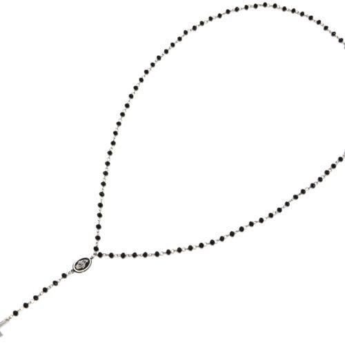 Collier-Mini-Perles-Noires-avec-Pendentif-Y-Vierge-Marie-et-Croix-Acier-Argente
