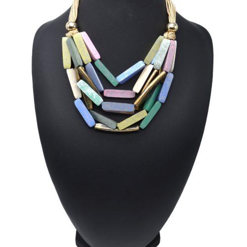 Collier-Plastron-Cordons-avec-Multi-Rangs-Formes-Bois-Multicolore-Effet-Vieilli