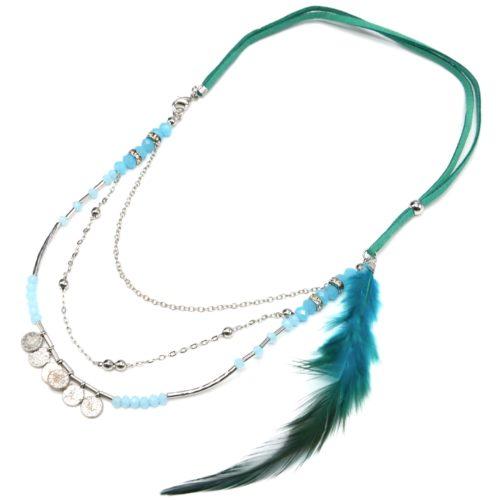 Collier-Cordons-Multi-Rangs-avec-Chaines-Pieces-Metal-Perles-et-Plume-Bleu-Canard