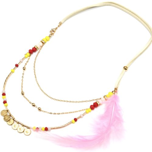 Collier-Cordons-Multi-Rangs-avec-Chaines-Pieces-Metal-Perles-et-Plume-Rose