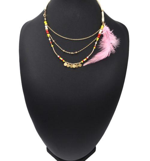 Collier-Cordons-Multi-Rangs-avec-Chaines-Pieces-Metal-Perles-et-Plume-Rose