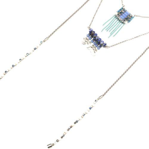 Collier-Multi-Rangs-avec-Pendentifs-Pierres-Perles-Bleu-et-Chaines-Pendantes