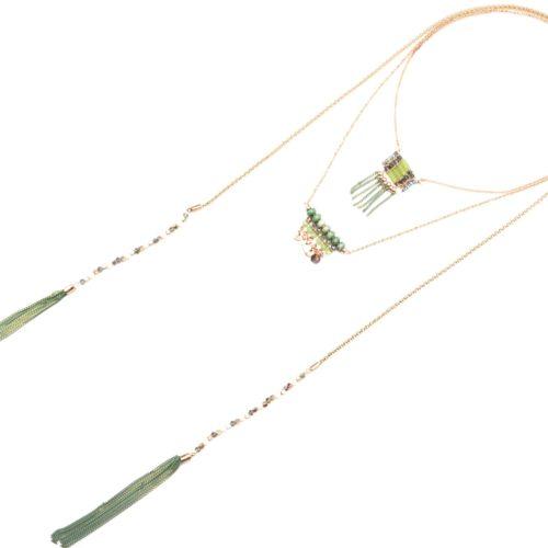 Collier-Multi-Rangs-avec-Pendentifs-Pierres-Perles-Vert-et-Pompons-Chaines-Pendantes