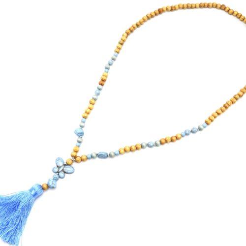 Sautoir-Collier-Perles-Bois-et-Effet-Marbre-avec-Pierre-Papillon-et-Pompon-Bleu