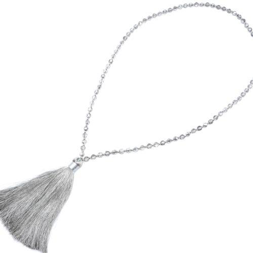 Sautoir-Collier-Perles-Brillantes-avec-Pendentif-Pompon-Fils-Gris