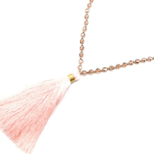 Sautoir-Collier-Perles-Brillantes-avec-Pendentif-Pompon-Fils-Rose