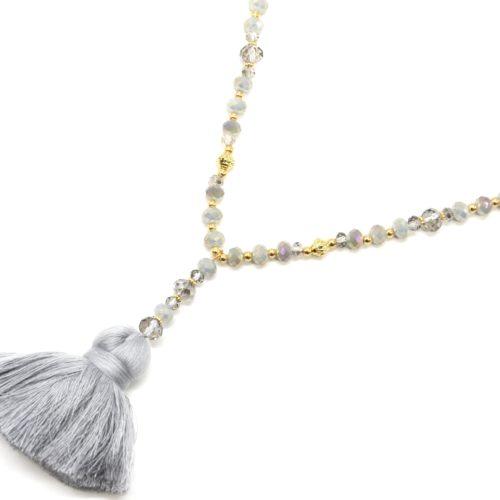 Sautoir-Collier-Perles-Brillantes-Gris-Dore-avec-Pendentif-Y-Pompon-Fils