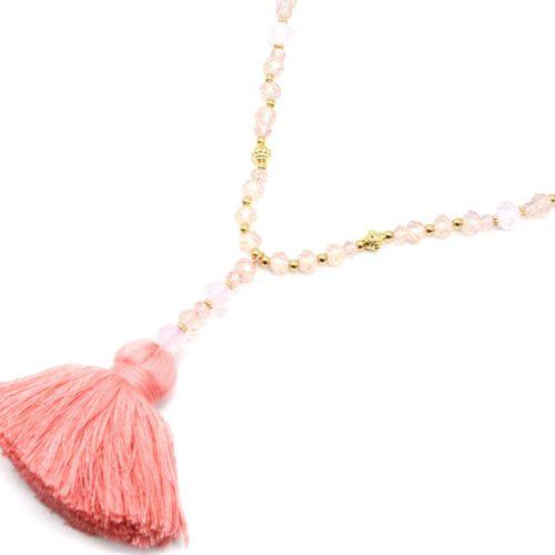 Sautoir-Collier-Perles-Brillantes-Rose-Dore-avec-Pendentif-Y-Petit-Pompon-Fils