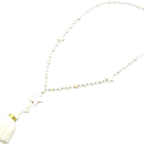 Sautoir-Collier-Perles-Brillantes-Metal-avec-Triple-Pierres-Etoile-et-Pompon-Fils-Blanc