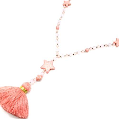 Sautoir-Collier-Perles-Brillantes-Metal-avec-Triple-Pierres-Etoile-et-Pompon-Fils-Rose