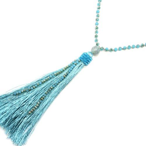 Sautoir-Collier-Mini-Perles-Brillantes-avec-Pendentif-Boule-et-Pompon-Fils-Bleu