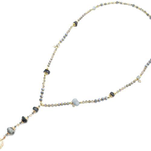 Sautoir-Collier-Perles-Brillantes-avec-Pierres-Grises-et-Plume-Metal-Dore