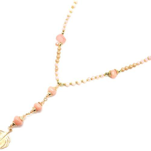 Sautoir-Collier-Perles-Brillantes-avec-Pierres-Roses-et-Plume-Metal-Dore