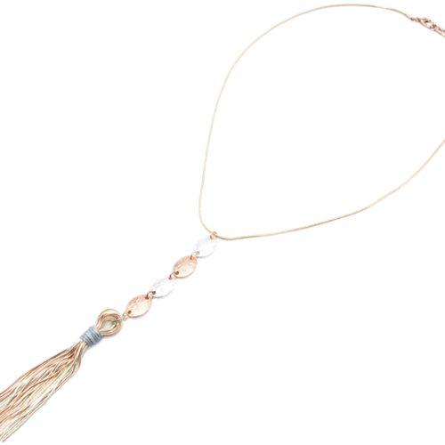 Sautoir-Collier-avec-Pendentif-Y-Multi-Ovales-et-Pompon-Chaines-Metal-Or-Rose-Argente