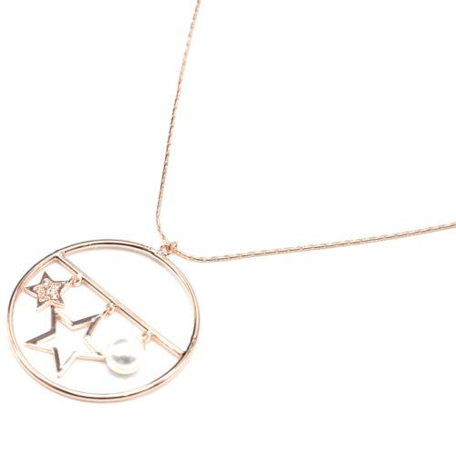 Sautoir-Collier-Pendentif-Cercle-Metal-Or-Rose-avec-Etoiles-Strass-Zirconium-et-Perle