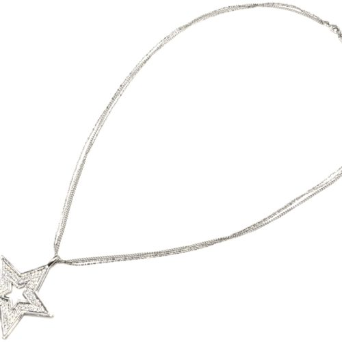 Sautoir-Collier-Multi-Chaines-Pendentif-Etoile-Strass-Metal-Argente