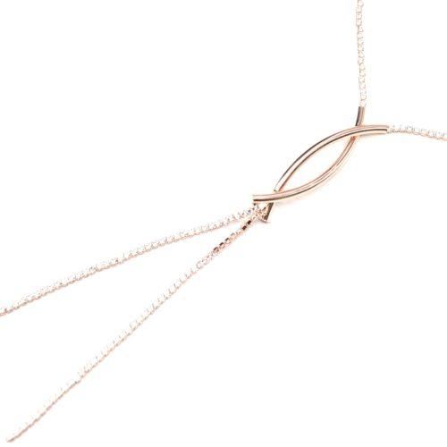 Sautoir-Collier-Fine-Chaine-Strass-Zirconium-et-Tubes-Croises-Metal-Or-Rose