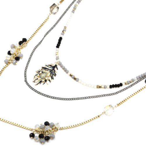 Sautoir-Collier-Multi-Chaines-Metal-avec-Mini-Perles-et-Plume-Noir-Gris