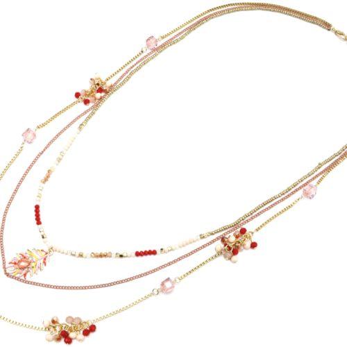 Sautoir-Collier-Multi-Chaines-Metal-avec-Mini-Perles-et-Plume-Saumon-Rouge