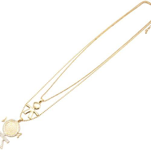 Sautoir-Collier-Double-Chaines-Pendentif-Fille-et-Garcon-Strass-Metal-Dore