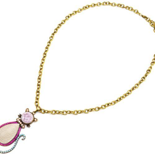 Sautoir-Collier-Grosse-Chaine-Metal-Dore-avec-Pendentif-Chat-Pierre-Rose-Strass-et-Perles