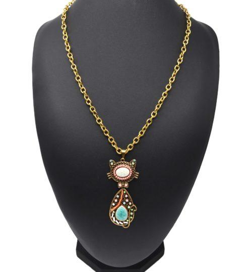 Sautoir-Collier-Grosse-Chaine-Metal-Dore-avec-Pendentif-Chat-Pierres-Multicolore-Strass-et-Perles