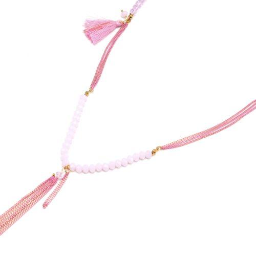 Sautoir-Collier-Multi-Chaines-Metal-avec-Perles-Plume-et-Pompon-Rose