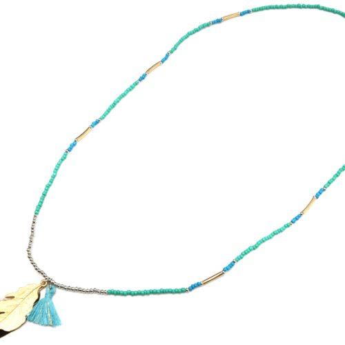Sautoir-Collier-Mini-Perles-Rocaille-avec-Plume-Metal-Dore-et-Pompon-Vert