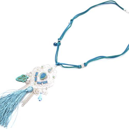 Sautoir-Collier-Cordons-avec-Pendentif-Metal-Ajoure-Argente-Mat-Charms-et-Pompon-Bleu