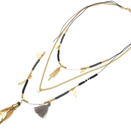 Sautoir-Collier-Multi-Chaines-avec-Pieces-Noir-Blanc-Charms-et-Plume-Metal-Dore