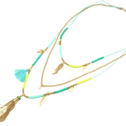 Sautoir-Collier-Multi-Chaines-avec-Pieces-Vert-Charms-et-Plume-Metal-Dore