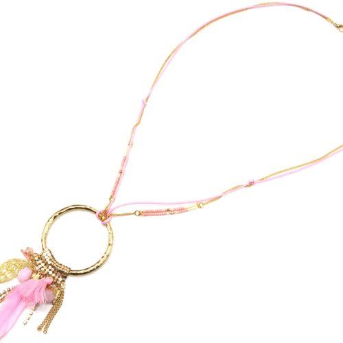 Sautoir-Collier-Pendentif-Y-Cercle-Metal-Dore-avec-Multi-Charms-et-Plume-Rose