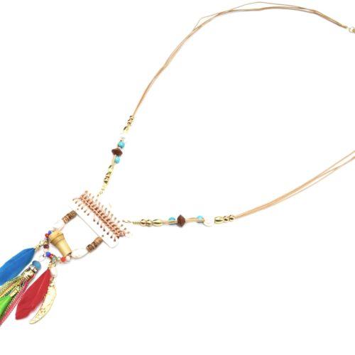 Sautoir-Collier-Pendentif-Y-Nacre-Blanc-avec-Fil-Tresse-Perles-et-Plumes-Multicolore