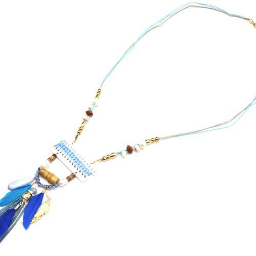 Sautoir-Collier-Pendentif-Y-Nacre-Blanc-avec-Fil-Tresse-Perles-et-Plumes-Bleu