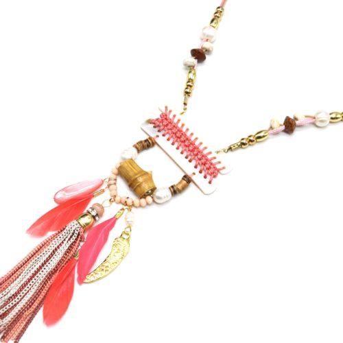 Sautoir-Collier-Pendentif-Y-Nacre-Blanc-avec-Fil-Tresse-Perles-et-Plumes-Corail