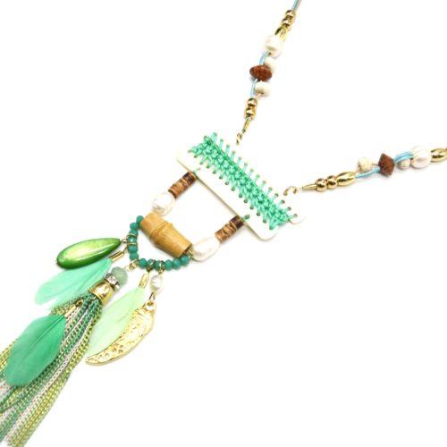 Sautoir-Collier-Pendentif-Y-Nacre-Blanc-avec-Fil-Tresse-Perles-et-Plumes-Vert