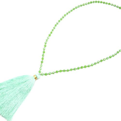 Sautoir-Collier-Perles-Brillantes-avec-Pendentif-Pompon-Fils-Vert