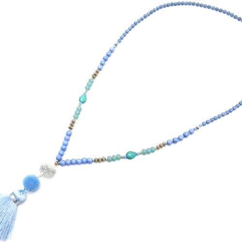 Sautoir-Collier-Perles-Pierres-Effet-Marbre-avec-Cercle-Ajoure-et-Pompon-Fils-Bleu