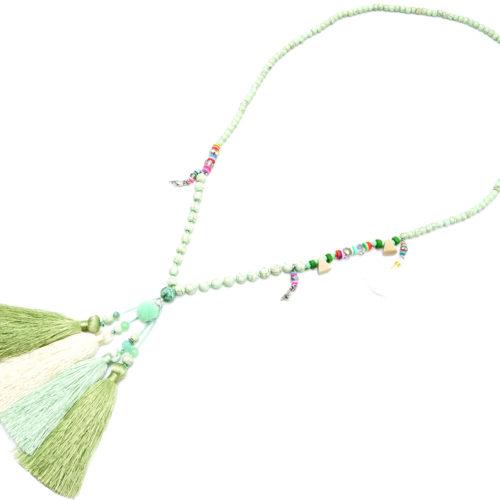 Sautoir-Collier-Perles-et-Pierres-Effet-Marbre-avec-Multi-Pompons-Fils-Vert-Ecru