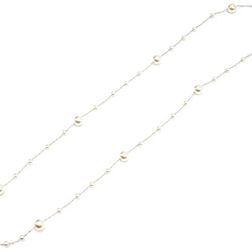 Sautoir-Collier-Fine-Chaine-Metal-Argente-avec-Multi-Perles-Ecru