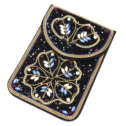 Mini-Pochette-Sac-Bandouliere-avec-Motif-Fleur-Pierres-et-Perles-Rocaille-Noir